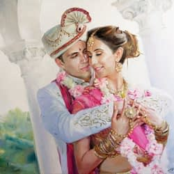 Indian family oil wedding portrait img_11