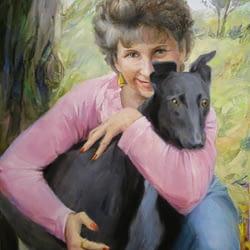 Woman with the black dog custom oil portrait img_10