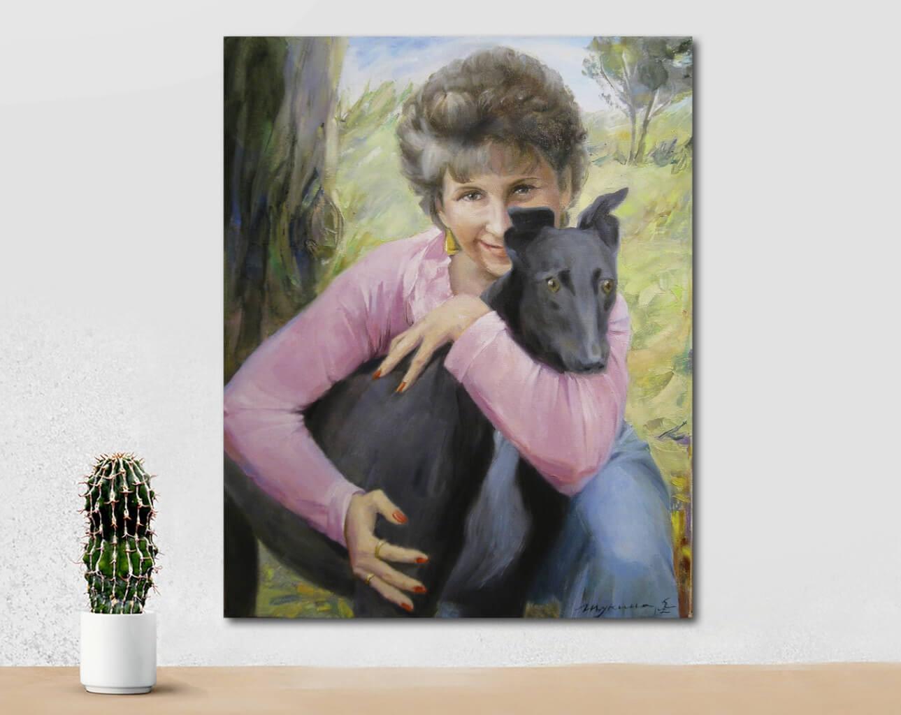 Woman with the black dog custom oil portrait img_1