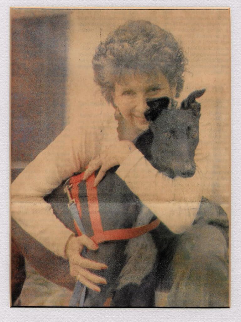 Woman with the black dog custom oil portrait img_2