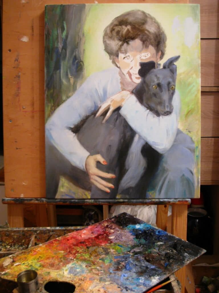 Woman with the black dog custom oil portrait img_3