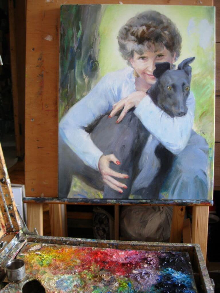 Woman with the black dog custom oil portrait img_4