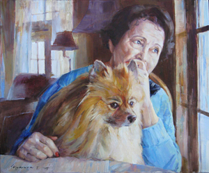 Woman with the dog oil portrait img_9