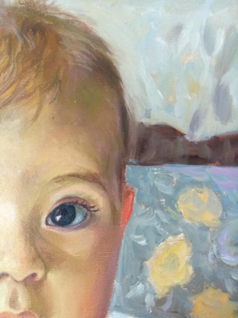 Mary + kids oil portrait img_2