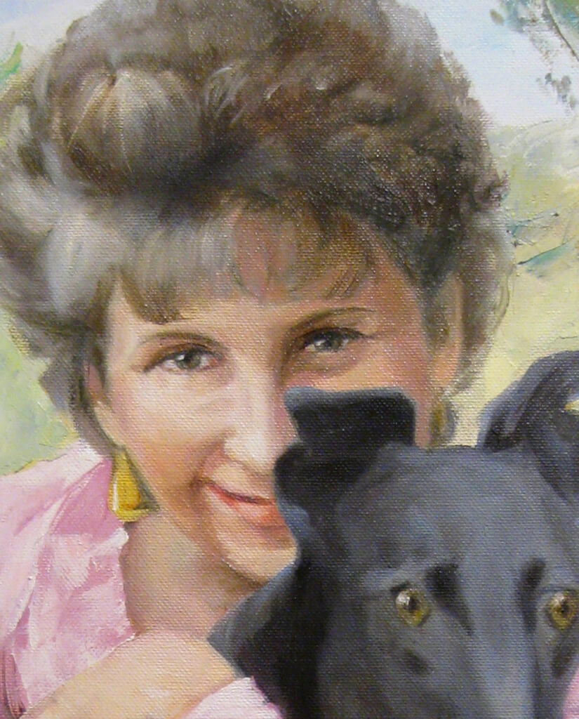 Woman with the black dog custom oil portrait img_6